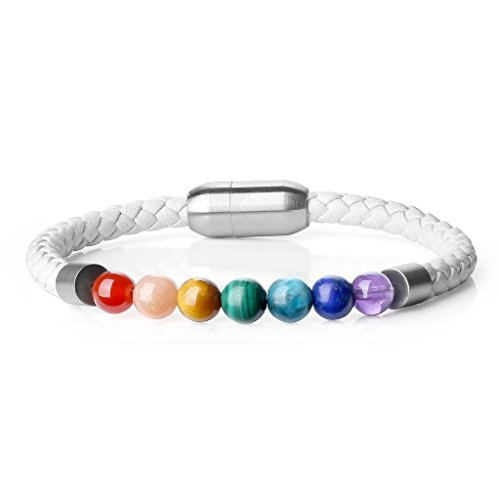 AmorWing Womens Magnetic Clasp Leather with Genuine 7 Chakra Stone Mala Beads Bracelet