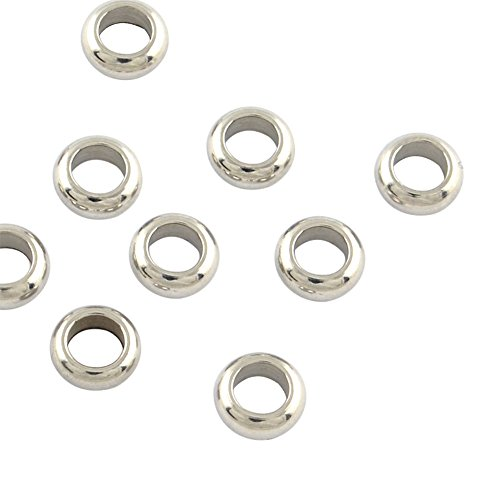 NBEADS 500pcs 5mm Stainless Steel Ring Spacer Beads Metal Spacer Beads European Charm Beads for DIY Jewelry Making Findings ()