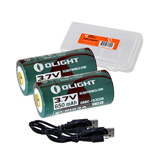 2 Pack: Olight ORBC-163C06 650mAh 3.7V RCR123A / 16340 USB Rechargeable Li-ion Batteries w/Charging Cables & LumenTac Battery Organizer