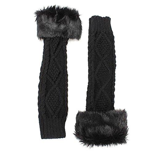 Womens Winter Stretch Faux Fur Knit Wool Arm Warmers Long Fingerless Gloves (Black)