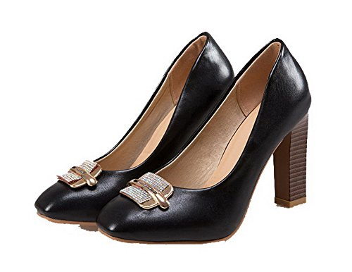 WeiPoot Shoes Pumps High Heels PU Toe Pull Solid Closed Women's On 43 Black rwvzrq