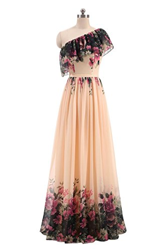 Women's Floral Print Ruffles Chiffon Long Evening Dresses Prom Gowns For Formal 174 One - Gown Chiffon Printed