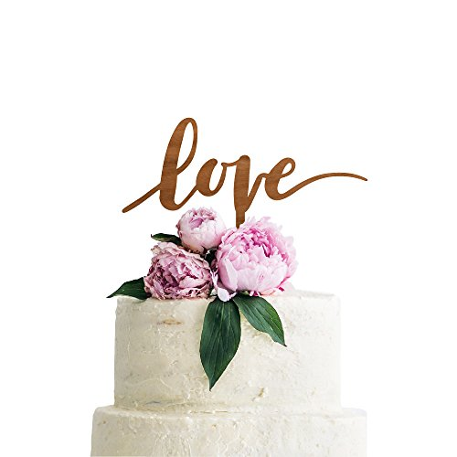 P Lab Love Wedding Cake Topper Rustic Wood Decoration Keepsake Engagement Favors for Special Event Cherry Wood by Personalization Lab