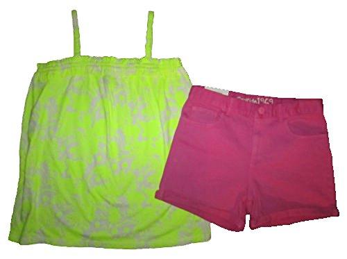 Gap Kids Girls Neon Yellow Floral Tank Top & Pink Classic Denim Shorts 12 (Gap Classic Shorts)
