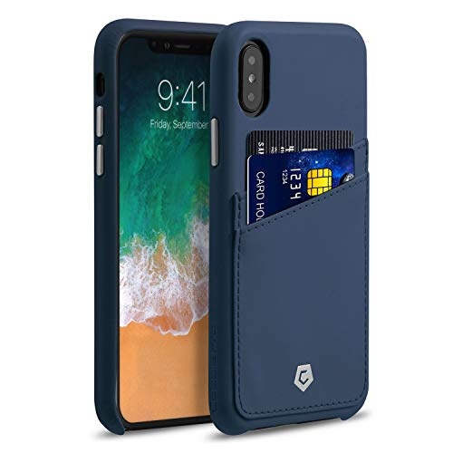 Solid Dark Blue Case Cover - Apple iPhone XS/X Case, Cobble Pro Premium Handcrafted Leather Case Cover with ID Credit Card Slot Holder for Apple iPhone XS/X 5.8