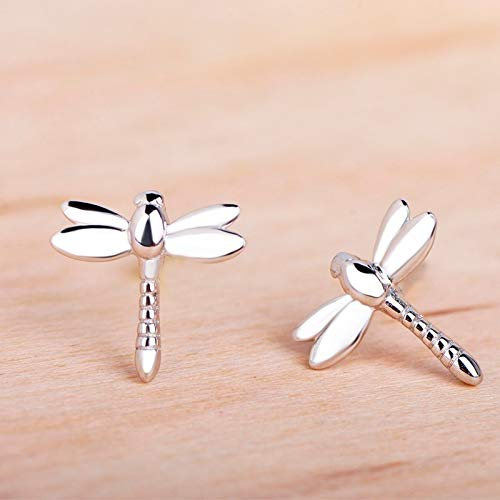 (Fashion 925 Sterling Silver Dragonfly Shape Small Stud Earring Insect Jewelry for Women Girl Daily Party Ear Accessories)