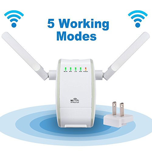 DHMXDC 300Mbps Multi-function Mini Wireless-N WiFi Range Extender Signal Booster 802.11n/b/g Network Repeater/Router/AP with WPS (Wifi Port Ethernet Adapter)