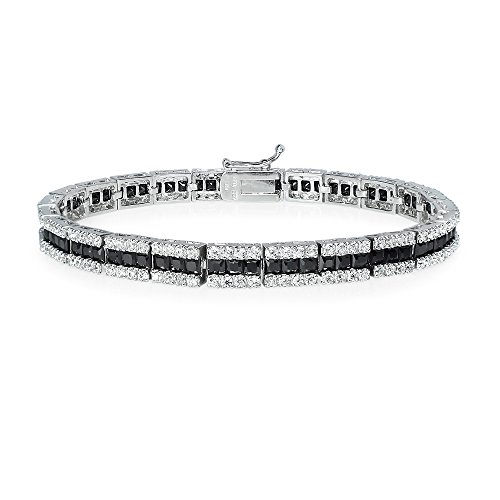 Hoops & Loops Sterling Silver Black Cubic Zirconia Channel Set Tennis Bracelet ()