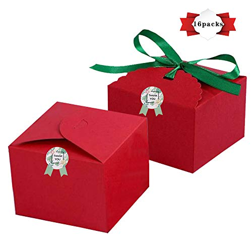 (PACKFAN Pack of 16 Kraft Treat Boxes with Ribbons and Sticker, Recycled Card Box for Cake, Cookies, Goodies, Candy, Cupcake, Holiday Party Birthday Homemade Favor, 4.7x4.7x3.54 Inch, Red Kraft)