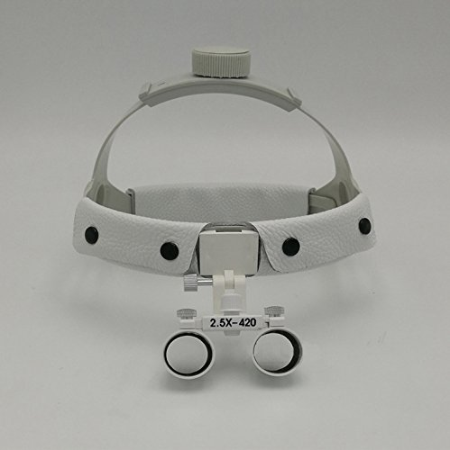 Medical Surgical Binocular 2.5X420mm Leather Headband Loupe with LED Headlight White by Purple-violet