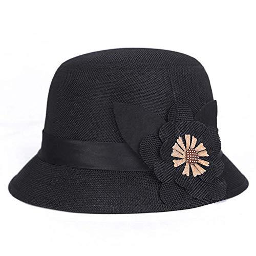GESDY Women Cotton Linen Bucket Hat Summer Lightweight Flower Sunhat Black