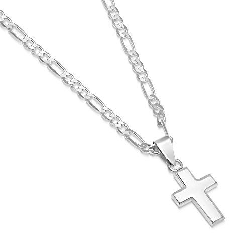 Sterling Silver Small Cross Pendant Italian Made 3.0mm Figaro Chain Necklace - 080 3.0mm - 20
