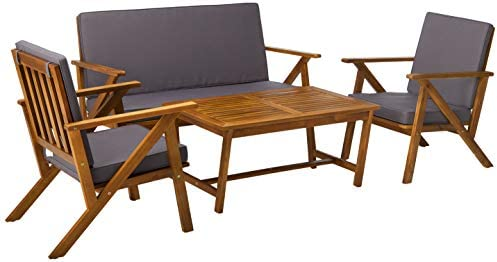 Christopher Knight Home 300251 Manarola 4-Piece Outdoor Acacia Wood Chat Set |