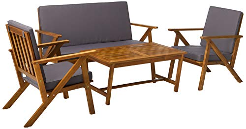 Christopher Knight Home 300251 Manarola 4-Piece Outdoor Acacia Wood Chat Set in Teak Finish Grey