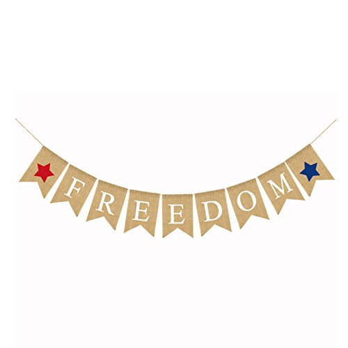 Freedom Burlap Banner | Rustic 4th of July Decorations | Red White and Blue Decor for Independence Day, Memorial Day, Veterans Day | Patriotic Party Supplies