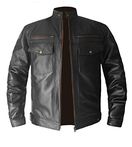 Leather Genuine Bomber Jacket - luvsecretlingerie Men's Stylish Superb Real Genuine Leather Bomber Biker Jacket
