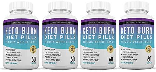 Keto Diet Pills Burn Shred BHB Salts Advanced Ketogenic Supplement Exogenous Ketones Ketosis Weight Loss Fat Burner Boost Energy Metabolism Men Women 60 Capsules 4 Bottles