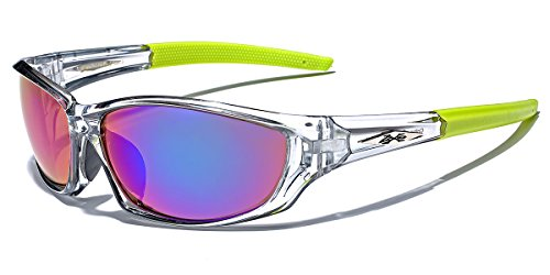 X-Loop Men's Frosted Clear Frame Colorful Wrap Around Baseball Cycling Running Sports Sunglasses ()