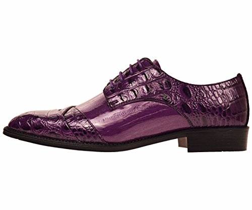 Bolano Mens Exotic EEL Skin & Lizard Skin Print Cap Toe Oxford Dress Shoes Styles Bandit, Dallas, Rollins Purple/Eel-print