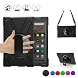 BRAECN Fire HD 10 2017 Case,Heavy Duty Armor Shockproof Protective Case Cover with Rotating Hand Strap,Carrying Shoulder Strap and Kickstand for Amazon Kindle Fire HD 10.1 Inch 2018/2017 Model (Black)