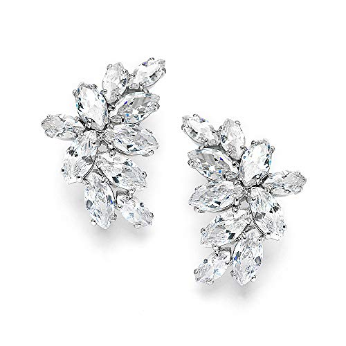 Mariell Bridal Wedding CZ Clip Earrings with Marquis-Cut Clusters - Great Mother of Bride Clip - Rhinestone Earrings Clip