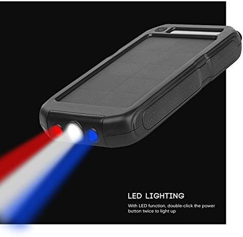 Solar Power Bank 15000mAh External Backup Battery Pack USB Solar Panel Charger with 3LED Light Portable for Emergency Outdoor Camping Travel iMeshbean Solar Charger Black