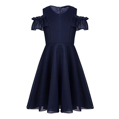 iEFiEL Kids Big Girls Ruffled Sleeves Lattice Mesh Dress Wedding Bridesmaid Flower Girl Dress Navy Blue 10