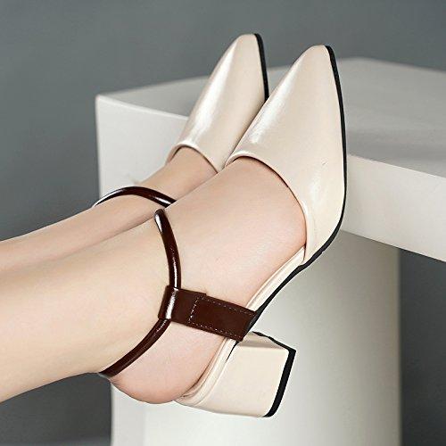 Señaló de Verano Mujer High HBDLH Mujer Y Zapatos Heeled Y white Zapatos De De Tacones Baotou Sandalias Rice wzqCS5RC