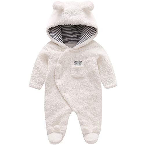 Zilee Infant Hooded Warm Romper Boys Girls Long Sleeve Outfit Toddler Crawl Coverall
