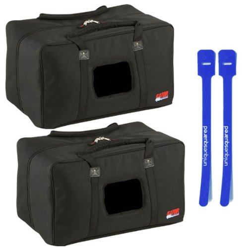 Gator GPA-450-515 Padded Nylon Zip Speaker Bag Pair w/ Cable Ties by Gator Cases