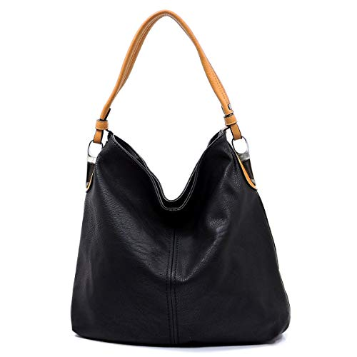 (Slouchy light and classic hobo shoulder handbag with detachable cross-body shoulder strap (BLACK))