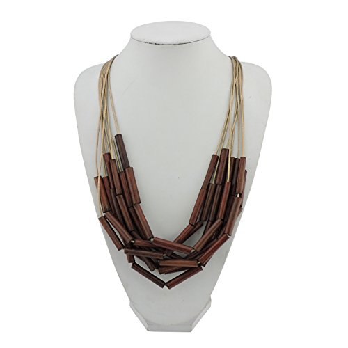 Bocar Long Multiple Strand Wood Beaded Statement Necklace for Women (NK-10500) by Bocar (Image #1)