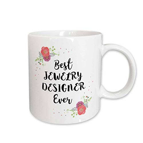 - 3dRose InspirationzStore - Love Series - Floral Best Jewelry Designer Ever watercolor pink flowers jeweler gift - 11oz Two-Tone Black Mug (mug_317286_4)