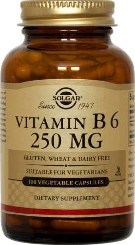 Solgar Vitamin B6 Vegetable Capsules, 100 mg, 250 Count by Solgar