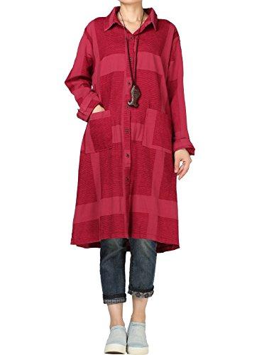 Mordenmiss Women's Plaid Long Blouse Button Down Shirt Cardigan Check Jacket L Burgundy (Coat Nursing Cotton)