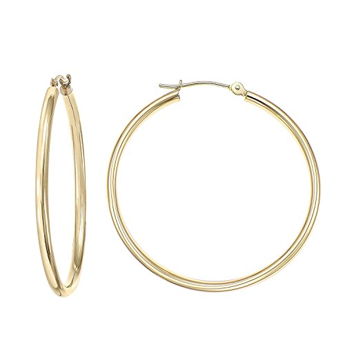 (14k Gold Classic Hoop Earrings, 2'' Diameter (yellow-gold))
