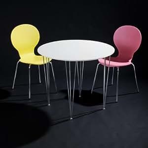 DES Blanco - Mesa redonda para cocina (90 cm), color blanco