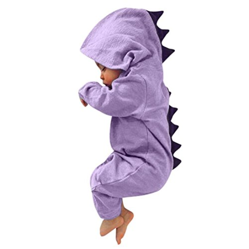 Bokeley Baby Pajamas Set, Infant Baby Boy Girls Set Button Front Dinosaur Hooded Romper Jumpsuit Outfits Tracksuit Sleepwear Clothes Set (3M, Purple) - Kid Comfortable Sleepwear Pants