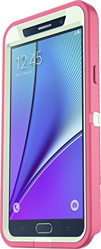 (OtterBox Defender Cell Phone Case for Samsung Galaxy Note5 - Retail Packaging - Melon POP (SAGE Green/Hibiscus Pink) + Belt Clip Holster)