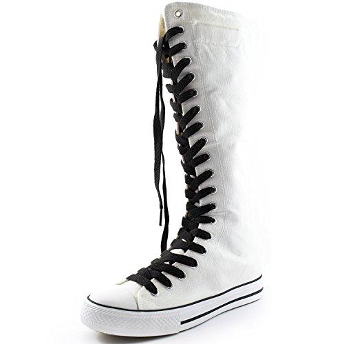 Dailyshoes Tela Donna Stivali Alti Metà Polpaccio Casual Sneaker Punk Flat, Classici Stivali Bianchi Neri, Classico Pizzo Nero