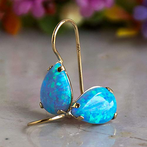 14K Gold Blue Opal Teardrop Earrings - 14K Solid Yellow Gold Pear Shape Drop Earrings with Dangle October Birthstone, Medium Size 7x10mm Blue Opal Gemstone Jewelry - Handmade Gift for Classy Women