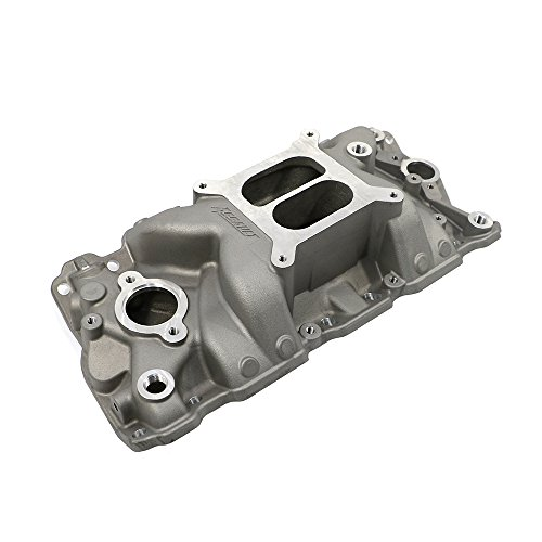 Assault Racing Products PC2021 Small Block Chevy Dual Plane High Rise Satin Aluminum Intake 1500-6500 RPM SBC