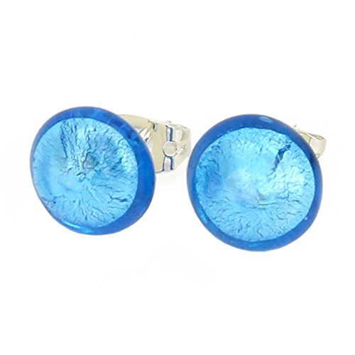 - GlassOfVenice Murano Glass Button Stud Earrings - Aqua Blue