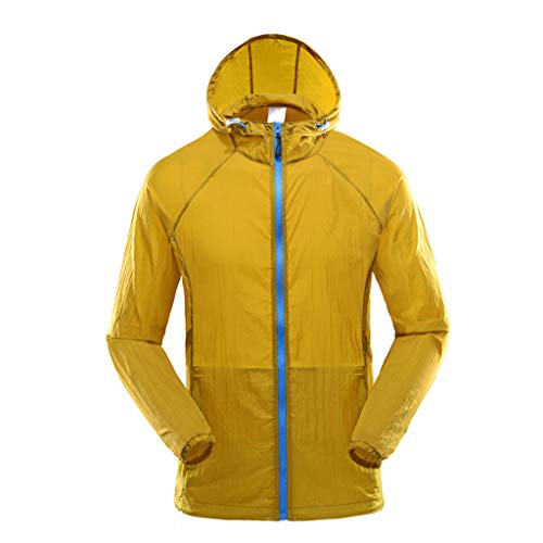 (YAYUMI Men's Fashion Summer Breathable Sports Sunscreen Clothing Sportswear Thin Tops Yellow)