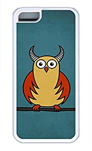 iPhone 5C Case, 5C Case - Thin Fit White Rubber Case Cover for iPhone 5C Funny Cartoon Horned Owl Highly Protective Soft Rubber Case Bumper for iPhone 5C