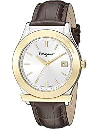 Men's FF3920015 Ferragamo 1898 Stainless Steel and Gold Ion-Plated Watch with Brown Leather Band