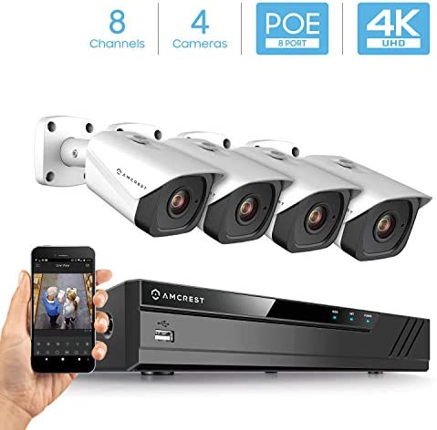 Amcrest 4K Security Camera System w 4K 8MP 8CH PoE NVR, 4 x 4K 8-Megapixel IP67 Weatherproof Metal Bullet POE IP Cameras 3840×2160 , 2.8mm Wide Angle Lens, NV4108E-IP8M-2496EW4 White