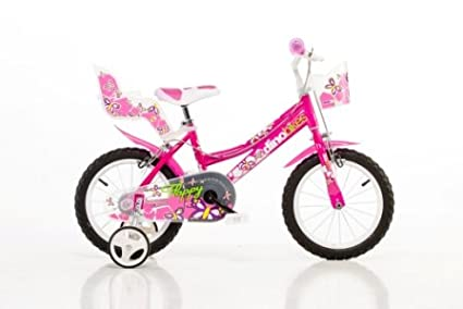 bicyclette enfant-velo b/écane rouler en v/élo faire du v/élo..pink..stabilisateurs. DINO CITY 166R 16 pouce KIDSBIKE fille v/élo v/élocip/ède pannier-avant..porte-poupee..gardeboue 16pouce 4-7 ans 105-135cm