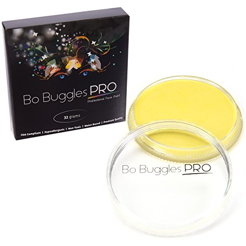 Bo Buggles Professional Light Yellow 32g Face Paint, Classic Colors, Water Activated -