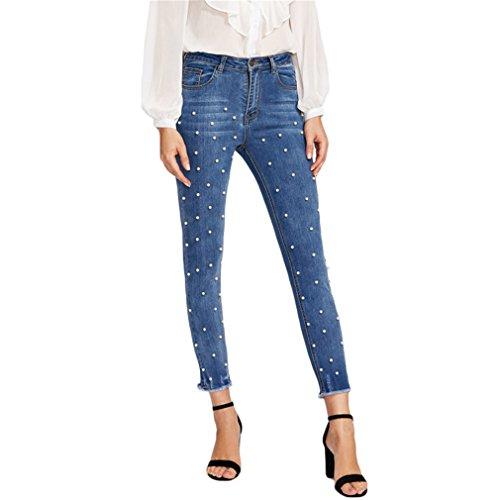 Sfrangiati Casual Cerniera Pantaloni Jeans High Linyin Waist Imbianchiti Blu Denim Womens Donne Skinny Autunno Con Coulisse Perla Perline qHaWWgtp